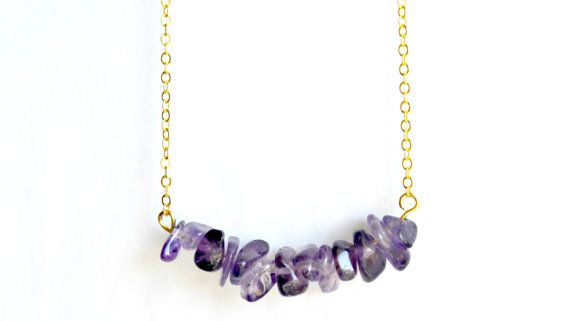 Amethyst Necklace Cluster Crystal Pendant Gold by IndigoLizard