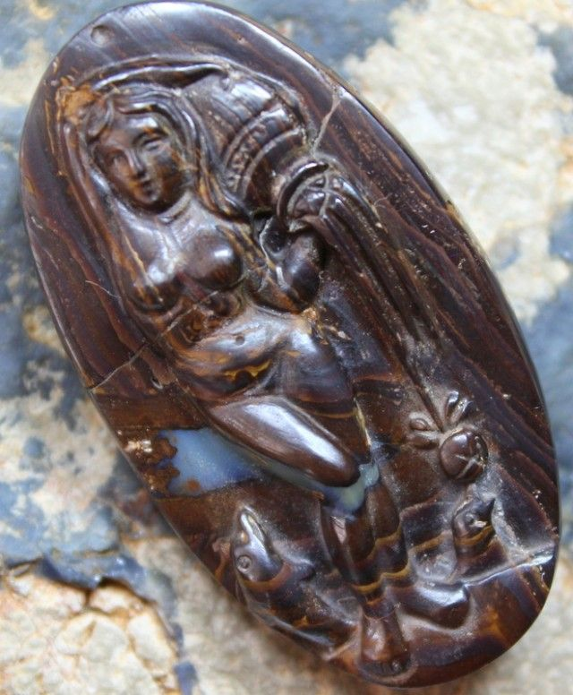 211.61 CTS LARGE BOULDER OPAL CARVING WATER LADY