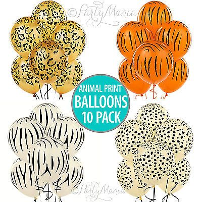 ANIMAL JUNGLE SAFARI PARTY DECORATIONS TIGER ETC PRINT LATEX BALLOONS 10 PACK in Home & Garden,Parties, Occasions,Balloons, Decorations   eBay