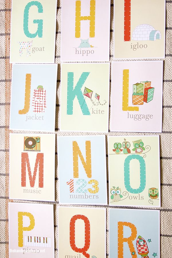 Free alphabet prints - these would be cute in a nursery