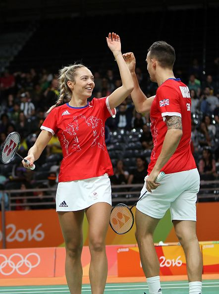 #RIO2016 Gabrielle Adcock and Chris Adcock of Great Britain compete against Joachim Fischer nielsen and Christinna Pedersen of Denmark in the badminton Mixed...