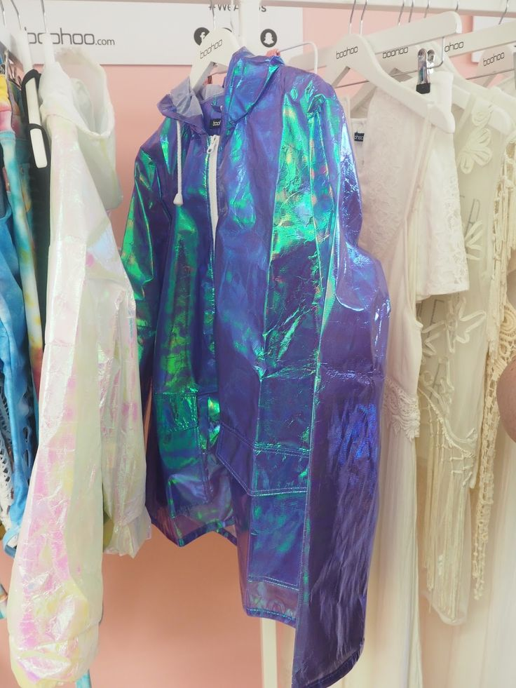 Iridescent raincoat, perfect for festivals!