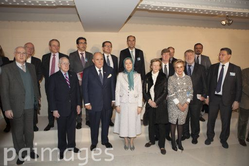 Maryam Rajavi attends an international conference in Paris on the 36th anniversary of the February 1979 revolution in Iran at the invitation of the French Committee for a Democratic Iran.