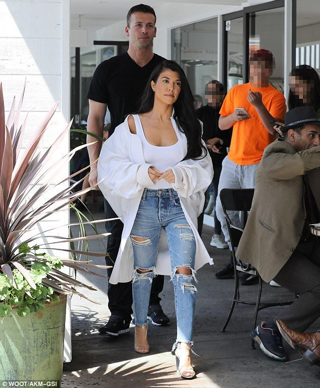 Good jeans: Hours earlier, the 37-year-old stepped out for lunch at Fabrocini's in Beverly Glen with her sisters Kim and Khloe Kardashian