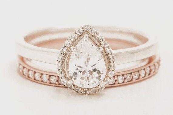 Pear Shaped White Topaz Halo Ring - Non Diamond Engagement Rings: Tips and Top Picks - EverAfterGuide