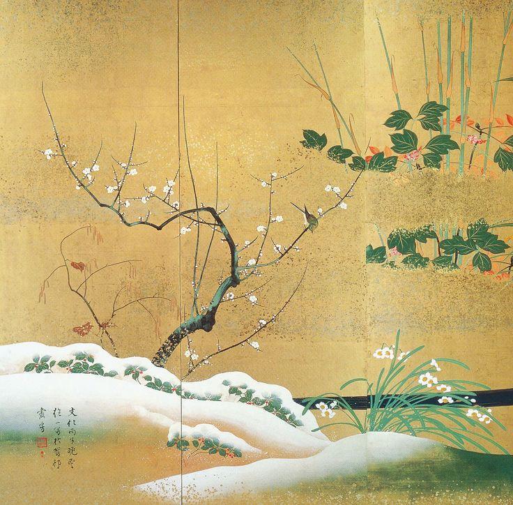"Detail. Sakai Hoitsu. ""Birds and Flowers"" or ""Flowers of the Four Seasons"" screen?"