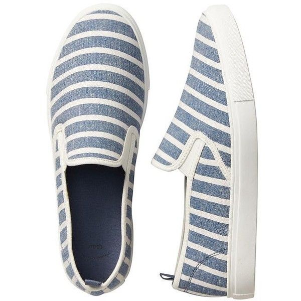 Gap Women Slip On Sneakers featuring polyvore women's fashion shoes sneakers round cap slip on shoes slip on trainers canvas shoes slip-on shoes