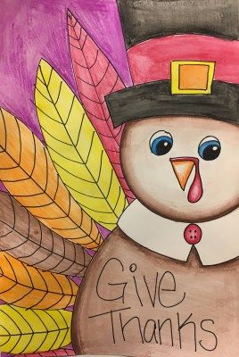 Thanksgiving Turkey Watercolor Pencil Art Project