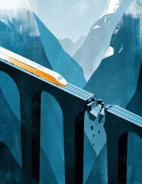 Inspiration | Isometric & Geometric Blue Train Illustration By Keith Negley