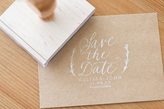Custom Calligraphy Save the Date Stamp 3 x 2.5 for Wedding Save the Date Customized Wood Handle Rubber Stamp Hand Written Calligraphy on Etsy, $50.00