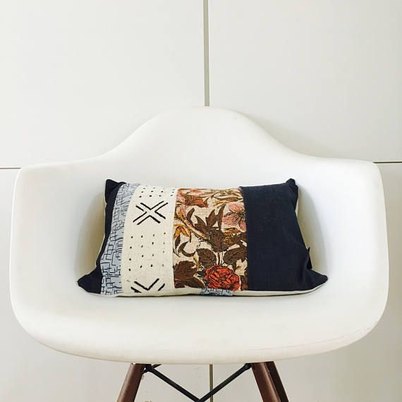 Boho Indigo Flower Tribal Pillow Cover 13x18