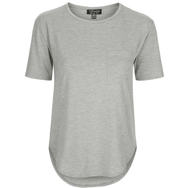 TOPSHOP Jersey Pocket Tee ($25) ❤ liked on Polyvore featuring tops, t-shirts, store, t shirt, topshop, grey, henley t shirt, relax t shirt, women tops and t shirts