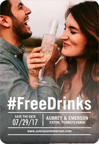 hashtag free drinks couple drinking champagne engagement photo save the date card magnet