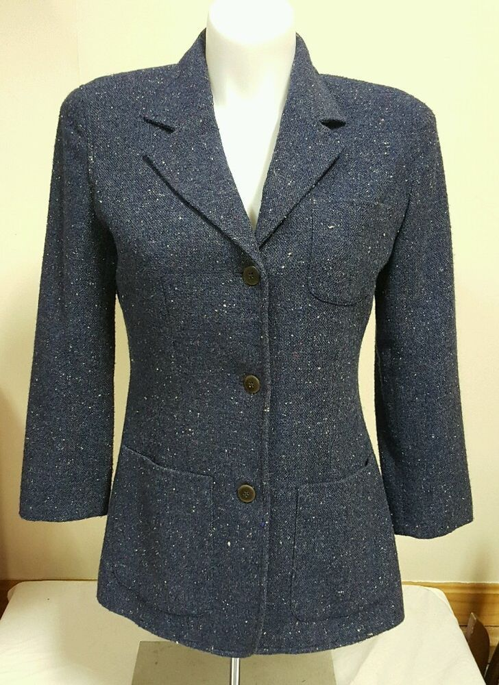 Crazy Horse A Liz Claiborne Company Women's Suit Jacket Blazer Wool Blue Sz 10  #LizClaiborne #Jacket