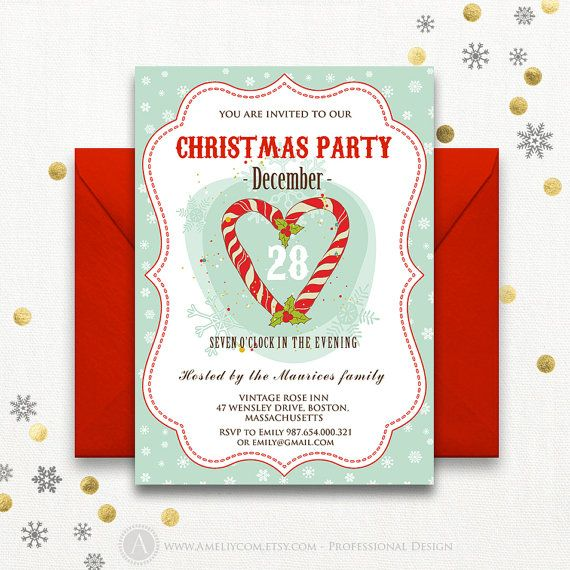 Christmas Invitations Christmas Invitation Template By AmeliyCom  Https://www.etsy.com  Christmas Invitation Template
