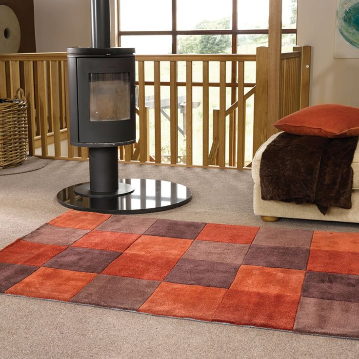 Inspire Square Rugs In Terracotta Are Handmade China With A Luxurious Polyester Pile The Modern Design Offers Quality And Style