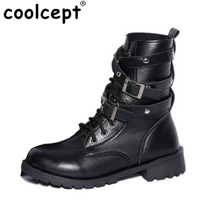 17.64$  Watch here - http://ali5sh.shopchina.info/go.php?t=32711265690 - Women Flat Ankle Boots Womens Motorcycle Boot Punk Bandage Short Hiking Lace Up Shoes Women Rivets Shoes Botas Size 35-42 Z00004  #buymethat