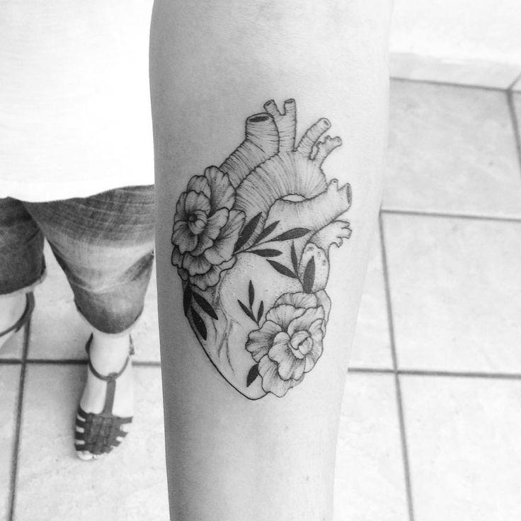 Heart and flowers tattoo by Broken Ink follow instragram @broken_tattoo