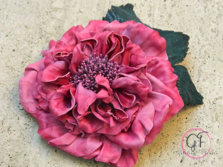 LEATHER DARK ENGLISH PINK ROSE  flower pin brooch hair hat clip fascinator.Leather Wedding Anniversary Gift | Galelina Flowers