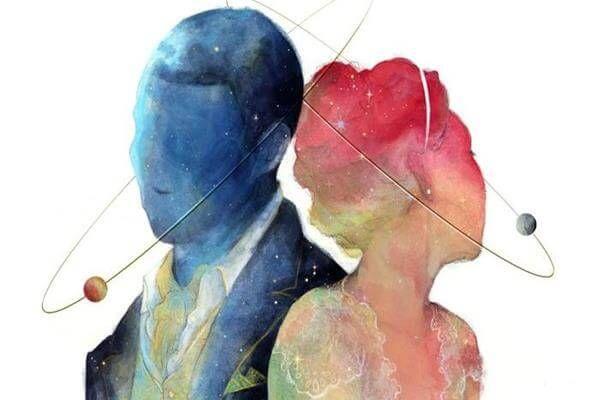 perfil pareja en rosa y azul