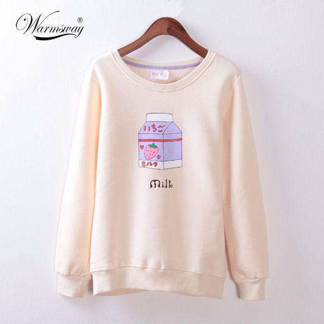 2016 nowy mori dziewczyna zimowych kobiet truskawki pole mleka druku oraz aksamitna bluza top Japoński Kawaii Ubrania WH-019