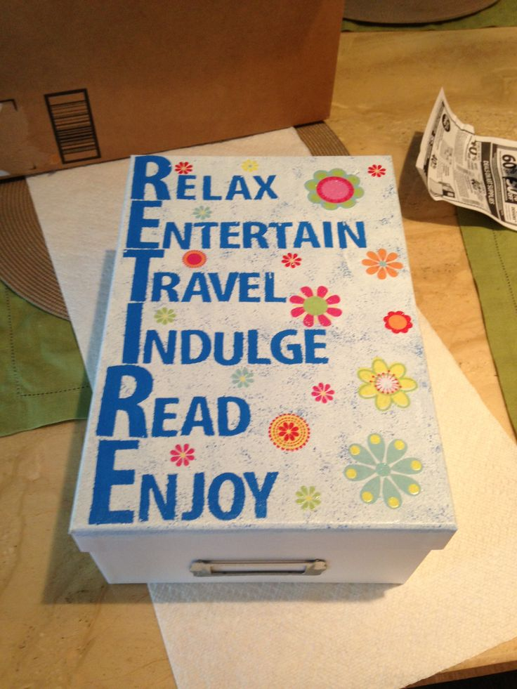 Retirement gift for my mom. made from photo box and filled with products to pamper herself with