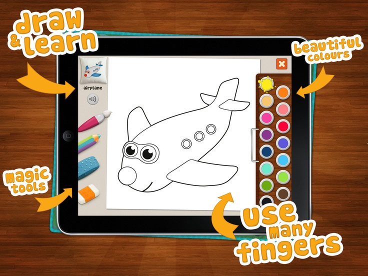 "#Memollow #Coloring Pages app has ""Child Friendly Interface"", multi-fingers colouring mode, magic tools and beautiful colours!"