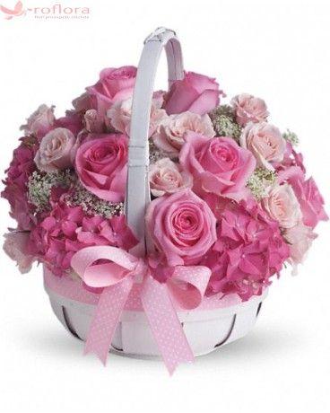 Dulceata de trandafiri - Cos din trandafiri si hortensii