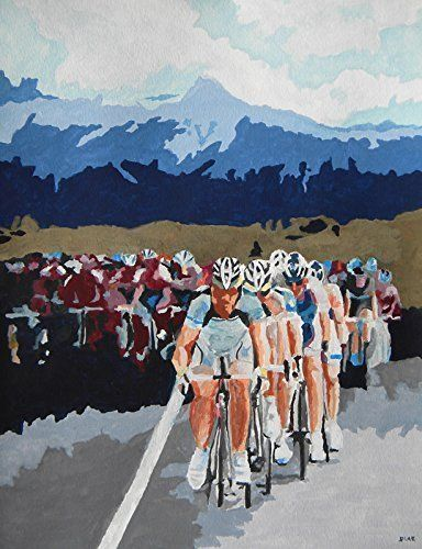 """Cycling - USA Pro Cycling in Boulder, CO. This print is a reproduction of a watercolor painting called Cycling - USA Pro Cycling painted by artist Carrie Diaz. Print size is 8x10 and includes a 11x14 Crescent® WHITE CORE, acid-free mats, backers are 1/16"""", 4-ply, solid white and clear bag. Ready for framing."""