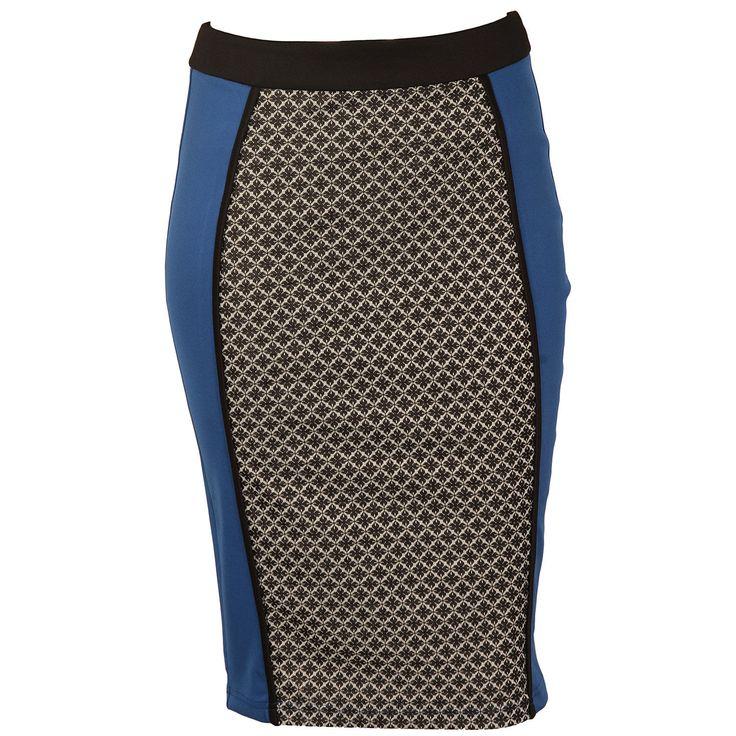Women | Blue Womens Tile Print Jacquard Pencil Skirt | Get The label