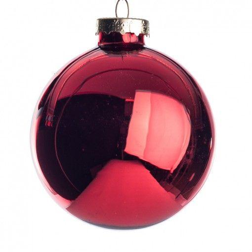 Kerstballen rood glas D 7 cm 8 stuks glans