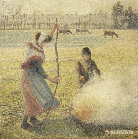 서리 내린 밭에 불을 지피는 젊은 농부 (밭 태우기) (Jeune paysanne faisant du feu, gelée blanche, ou la brûle des champs)