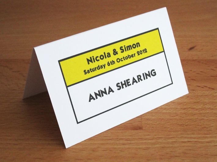 Monopoly Place Card in yellow.