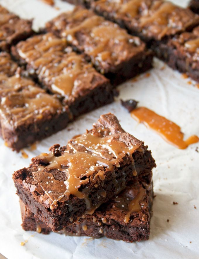 Salted Caramel Brownies | A Happy Food Dance