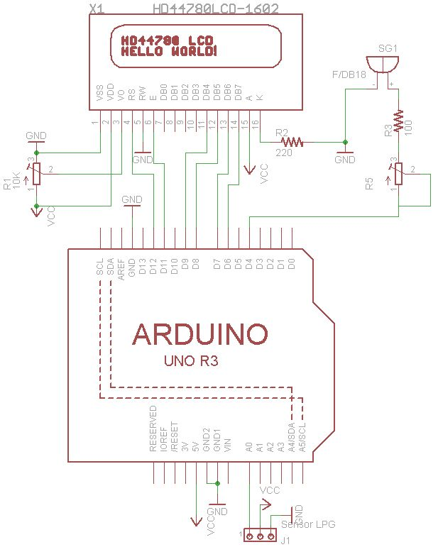 Leak detection with sensor mq and arduino
