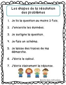 Affiches-Étapes de résolution des problèmes - primaire