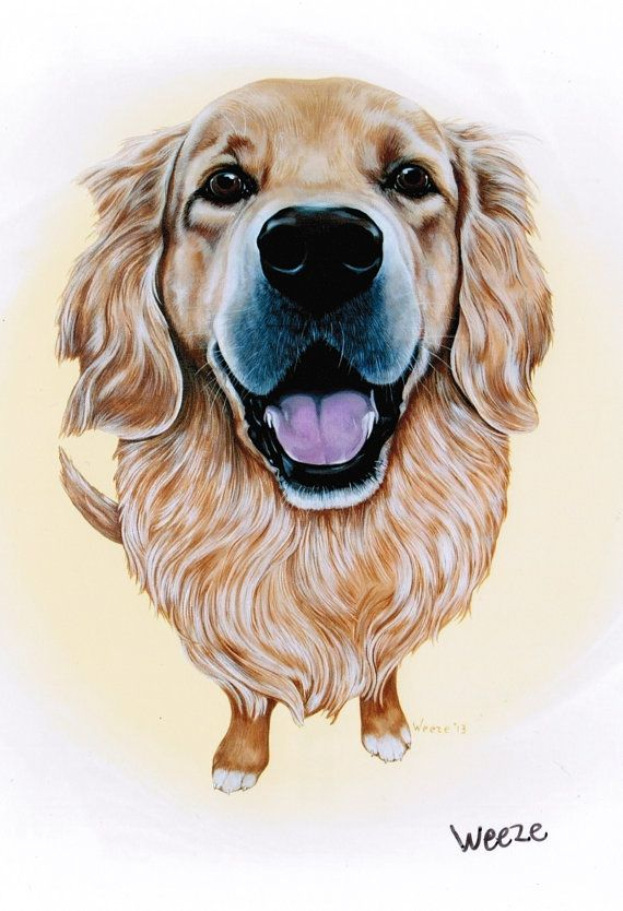 Golden Retriever Art  Golden Retriever Print  by ArtbyWeeze, $10.95