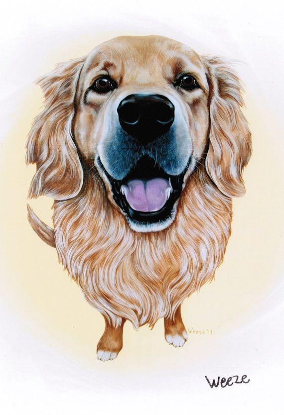Golden Retriever Art  Golden Retriever Print  by ArtbyWeeze, $10.95