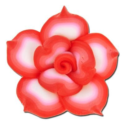 25mm White with Red Ombre Outline Flower Clay Bead