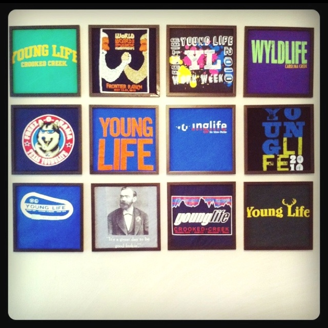 Young Life t-shirts in frames