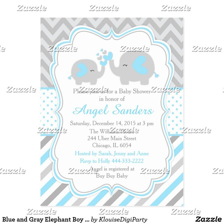 Blue and Gray Elephant Boy Baby Shower Postcard