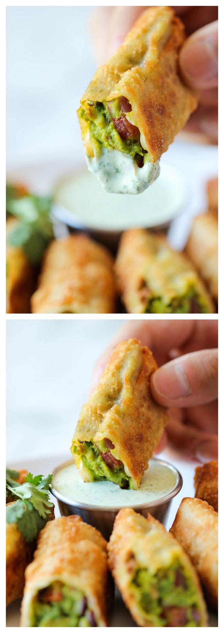 Cheesecake Factory Copycat Avocado Egg Rolls with Cilantro Dipping Sauce via Damn Delicious #appetizer #party