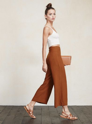 Free the ankle. The Becca Pant is perfect for any occasion and any season. Literally all of your tops will look good with it. This is a crepe, wide-leg pant that we cropped just right for you. It's got a high waist and a hook/zip closure at the side. https://www.thereformation.com/products/becca-pant-alessia?utm_source=pinterest&utm_medium=organic&utm_campaign=PinterestOwnedPins