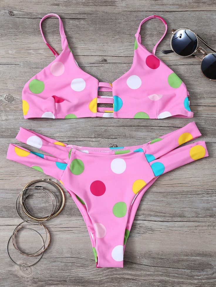 Bikinis   Pink Polka Dot Cut Out Bikini Set - Gamiss