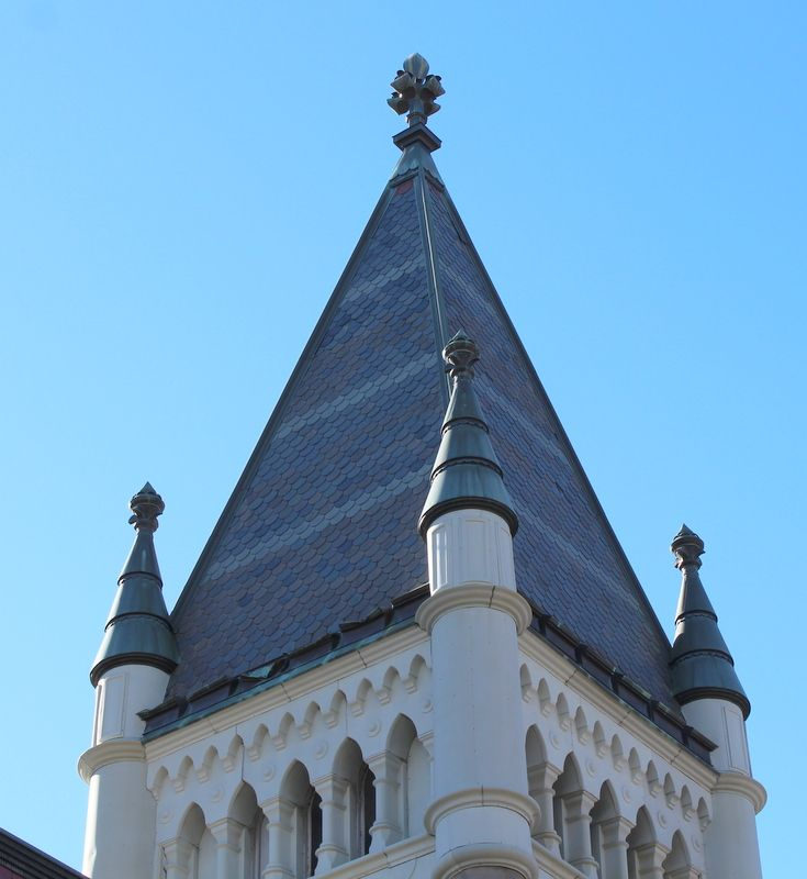 Morrice Hall at McGill University. Built in 1882. Slate roof.