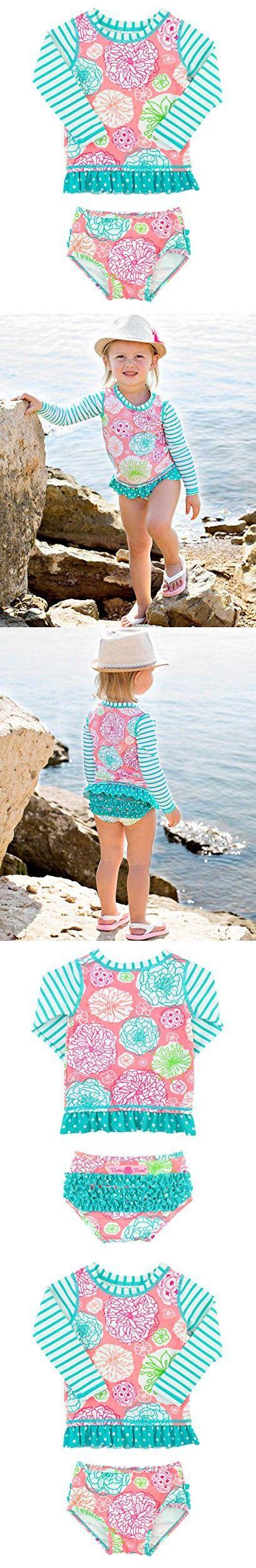 RuffleButts Infant / Toddler Girls Floral Striped Mix-Print Long Sleeve Rash Guard Set w/ Ruffles - Multi - 18-24m