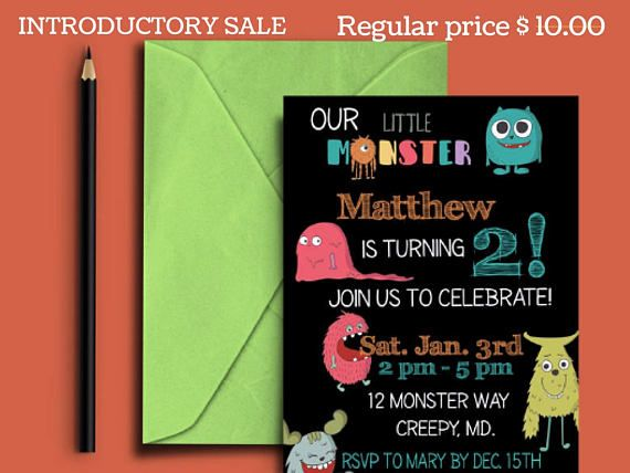 Celebrate your child's special day with this one of a kind monster birthday invitation. Filled with fun colors and fonts, this printable little lmonster party invitation is completely customized with your information, just download and print!  Click on photo to order yours today!