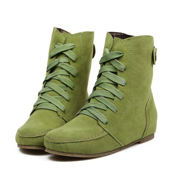 38.49$  Watch now - http://aligzs.shopchina.info/go.php?t=32680777691 - Candy Color Big Size Autumn Boots Women Flat Lace-up Ankle Boots Casual Woman Shoes Plus Size EU26-62 Botas Femininas WSH811 38.49$ #aliexpressideas