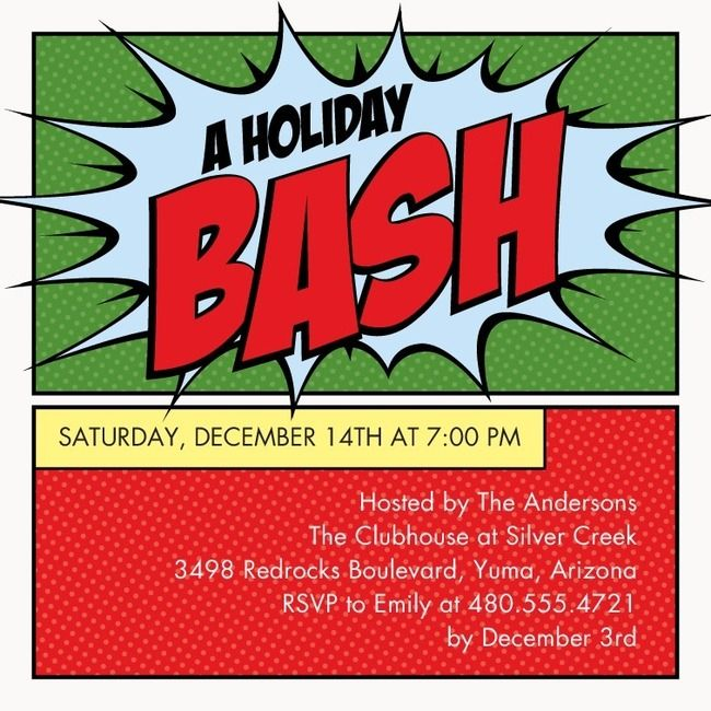 Holiday Invites Only Comic Book Art Style My Hubs Would Sign On To A Party Just For These