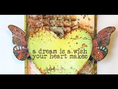 Using my scraps, part 3. Art journal, tag and card - process video - YouTube